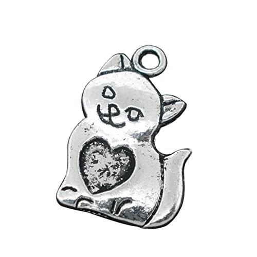 Housweety 40 PCs Silver Tone Cat/Heart Charms Pendants 22x14mm