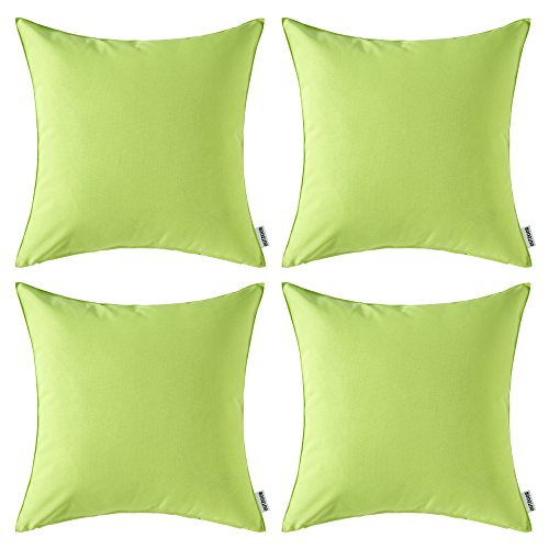 MIULEE Pack of 4 Decorative Outdoor Waterproof Pillow Cover Square Garden Cushion Case PU Coating Throw Pillow Cover Shell for Tent Park Couch 18x18 Inch Greenery