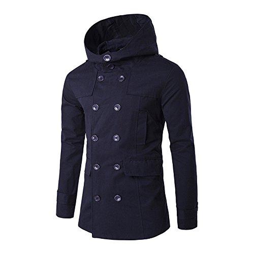 Cyan XXL WPEW-Hommes's Coats Hommes Double-Breasted Windbreaker Pure Couleur Cent Tours Manteau Coupe-Vent à Capuche décontracté