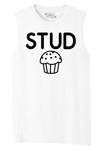 (Comical Shirt Mens Muscle Tank Stud Muffin Funny Tee Cute Boyfriend Gift Tee White S )