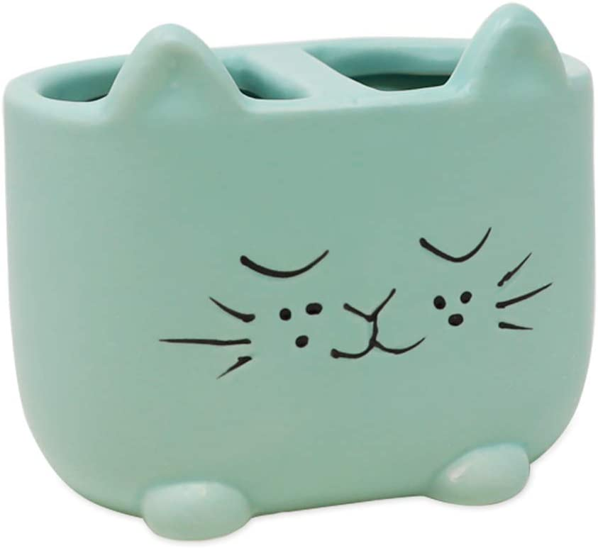 Isaac Jacobs Blue Ceramic Cat Makeup Brush Holder, Multi-Purpose 2-Section Organizer. Bathroom, Kitchen, Bedroom, Office Décor (2-Section Cup, Pastel Blue)
