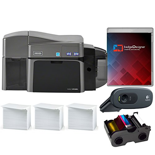 Fargo DTC1250e Dual Sided ID Card Printer & Complete Supplies Package with badgeDesigner Software