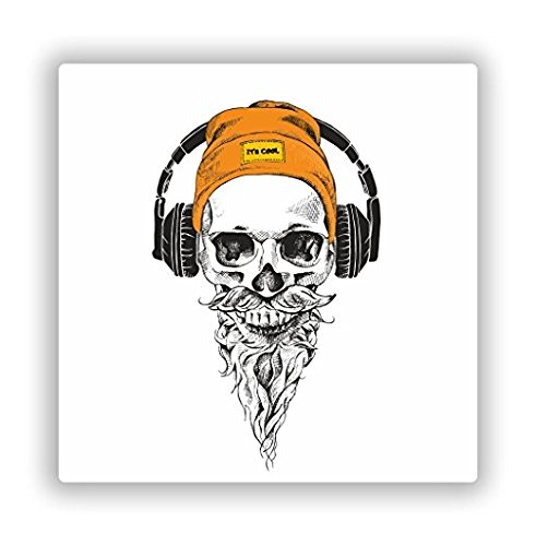 Hipster Skull Vinyl Stickers Scary Horror Halloween Creepy - Sticker Graphic - Sticks to Any Smooth Surface - Cars, Walls, Cellphones, Laptops, Windows