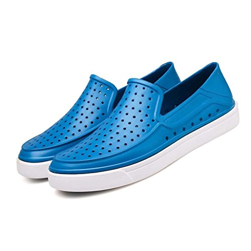 ZXCV Zapatos al aire libre El agujero puro del color de los hombres agujerea los zapatos perezosos ocasionales de los hombres respirables Azul cielo