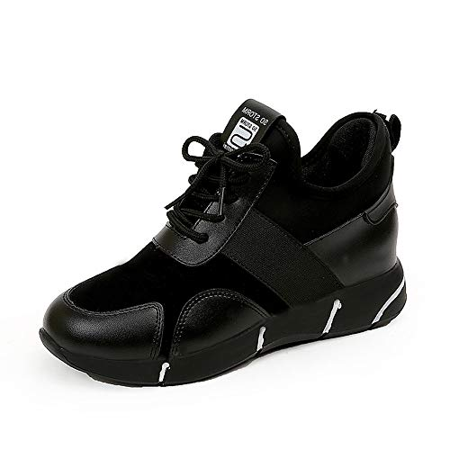 UOKNICE Women's Casual Trainers Flat Sport Running Breathable Sneakers Platform Sport Shoes(Black, CN 40(US 8.5))