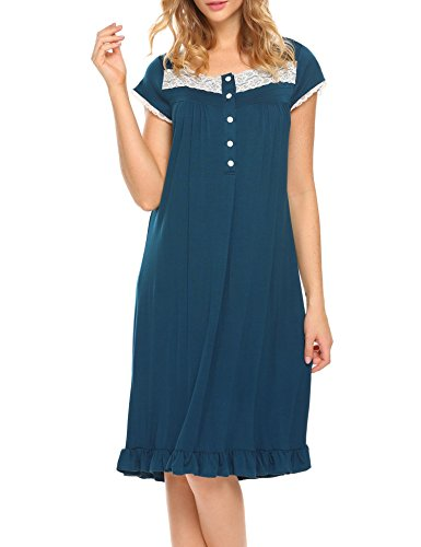 Women's Night Gowns Short Sleeve Button-Down Sleepshirt House Dress,Blue,Large by DonKap (Image #7)