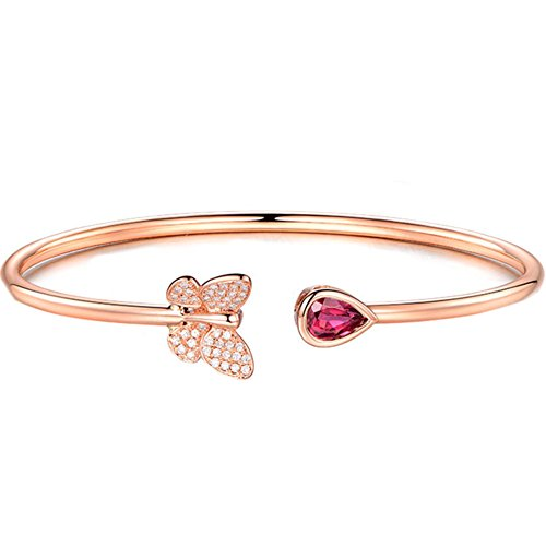 S925 Silver Rose Gold Plated CZ Butterfly Created Ruby Heart Water Drop Women Adjustable Bangle Bracelet,7'' (Ruby Bangles Silver)