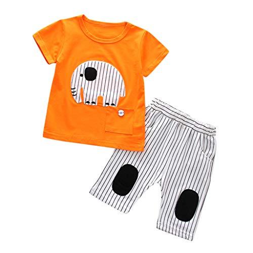 0-4T Toddler Infant Baby Boys Elephant Print Tops+ Stripe Long Pants 1Set Clothes Cute Sweat Absorb Soft Pajamas Layette Sets (Orange, 18-24 Months)