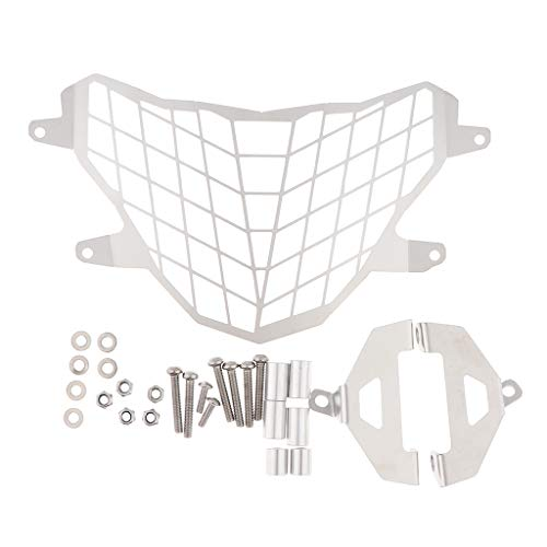 Flameer Durable Headlight Grille Cover Gurad Protector + Headlamp Mount Brackets for BMW G310GS 17-18 - Silver