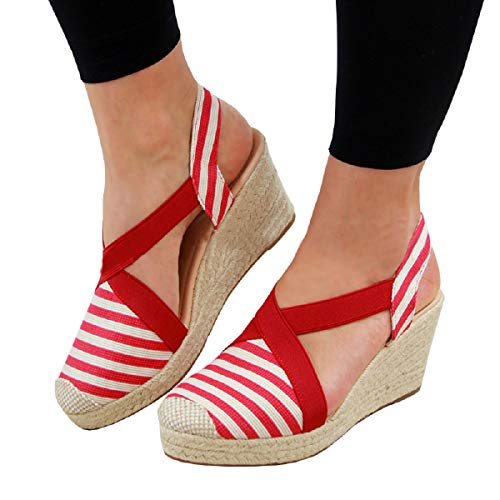 (FISACE Womens Cap Toe Elastic Band Criss Cross Platform Wedge Sandal Slingback Strappy Espadrilles Shoes)