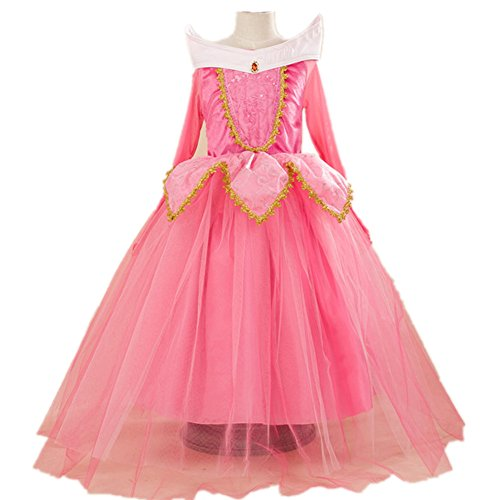 Oushiny Girls' Cute Cartoon Princess Dress Party Costume,Pink,110,2-3 (Pink Dress Costumes)