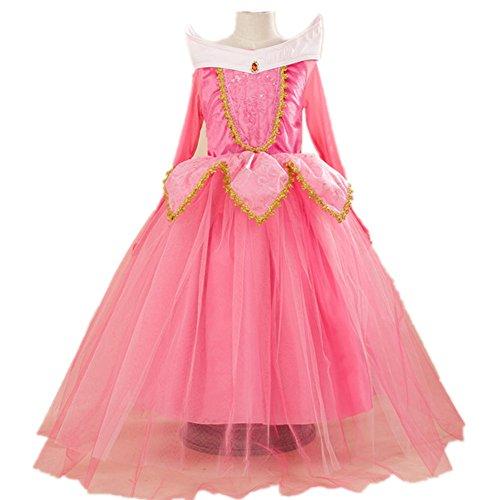 Oushiny Girls' Cute Cartoon Princess Dress Party Costume,Pink,120,4