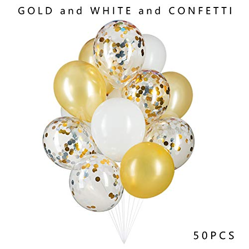 Gold,Confetti and White Balloons Latex Balloons 12 inch Thicken Balloons 50 Pcs Party Balloons for Wedding Baby Shower Birthday Carnival Party Decoration Supplies -