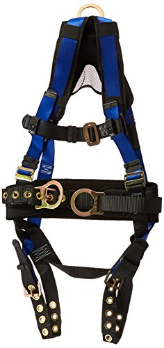 (FallTech 7073BSM Contractor+ Belted Full Body Harness with 3 D-Rings, MB Legs/TB Chest, Padded Mesh Yoke and Roller-Style Adjusters, Blue, Small/Medium)