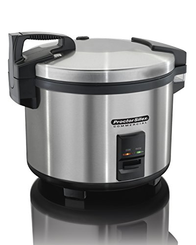 Hinged Lid - Proctor Silex Commercial 37560R Rice Cooker/Warmer, 60 Cups Cooked Rice, Non-Stick Pot, Hinged Lid, Stainless Steel Housing