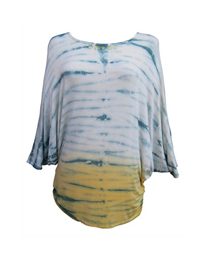 Nature Art Womens Tie Dye Dolman Sleeve Tunic Embellished Top Seafoam Yellow M