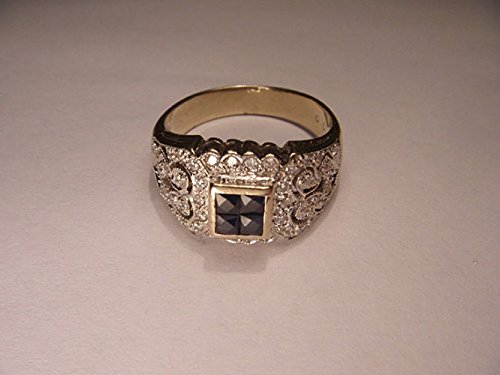 Fabulous Antique 14K Yellow Gold Sapphire Diamond Filigree Cluster Band Ring (Ring Filigree & Sapphire Diamond)