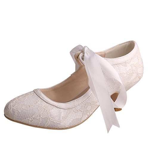 Wedopus MW306 Women Pumps Closed Toe Low Heels Mary Jane Prom Lace Ribbon Tie Wedding Party Shoes for Bride Size 7 White