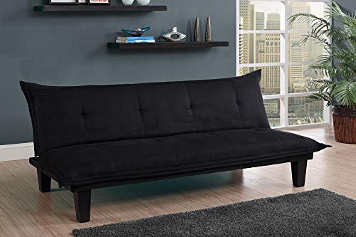 Futon Microfiber Sleeper Sofa (DHP Lodge Convertible Futon Couch Bed with Microfiber Upholstery and Wood Legs - Black)