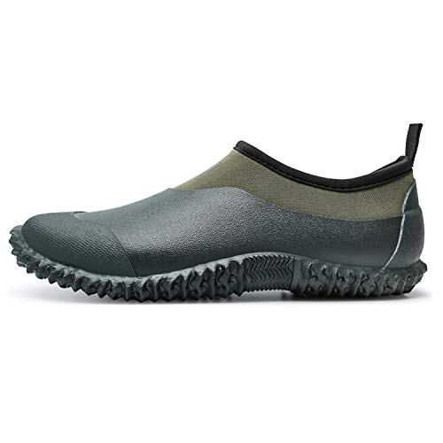 JOINFREE Womens Casual Rain Car Wash Boot Short Ankle Water Shoe Dark Green 9.5 M US/7.5 M Men