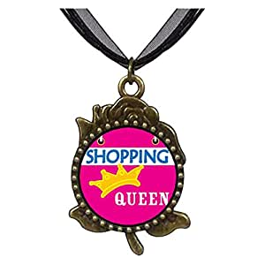 Chicforest Bronze Retro Style Shopping Queen Rose Flower Pendant