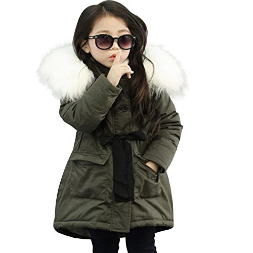 Clearance Kids Baby Girls Hooded Tops Coat Jacket,Warm Thick Plush Zipper Padded Bubble Belted Jacket Parkas Outwear (Army Green, 3T)