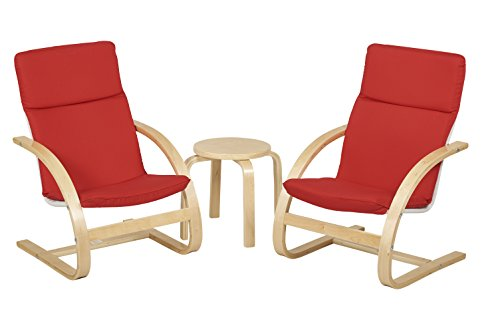 ECR4Kids Natural Bentwood Children's Table and Chair, Birch Finish with Red Cushions (3-Piece (Natural Birch Finish)