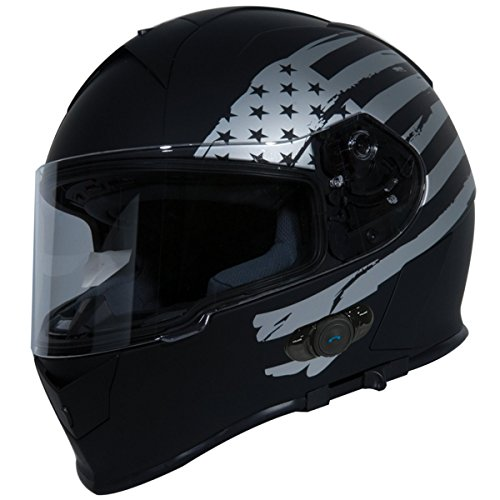 Torc T14B Bluetooth Integrated Mako Full Face Helmet with Flag Graphic (Flat Black, Large)