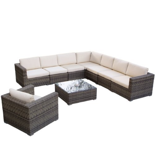Great Deal Furniture 237865 Sydney 9-Piece Outdoor Sofa Sectional Set, Brown-Grey with Sunbrella (Wicker Sydney Cheap Furniture Outdoor)