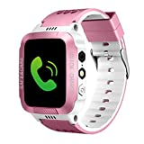 Buybuybuy Smart Watch for Kids,Y21S Smartwatches for Girls Boys Phone Watch Camera SOS Alarm Clock, Safety Dual Positioning Child Phone Watch for kids Birthday Great Gifts (Pink)