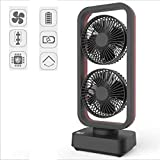 USB Fan, Double-Head Tower Fan 10000 Battery, Can Swing and Sway Out, Wind Speed Up to 4.2M/S,Black