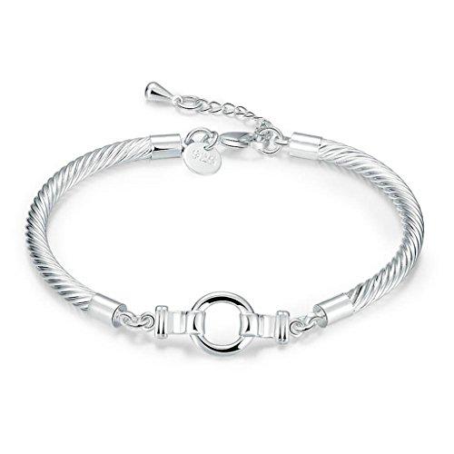 Epinki Silver Plated Bracelet, Women's Link Bracelets Round Shape Length 15+3CM
