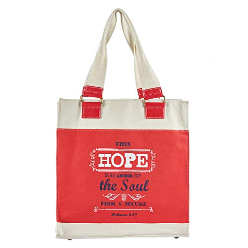 Hope Anchors The Soul Retro Canvas Tote Bag in Red - Hebrews 6:19