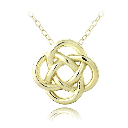 Hoops & Loops Flash Plated Gold Sterling Silver Love Knot Flower Necklace
