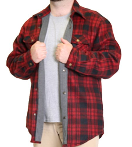 Woodland Supply Co. Mens' Thermal Lined Plaid Outerwear Shirt Jacket,X-Large,Red/black - Red Plaid Jacket