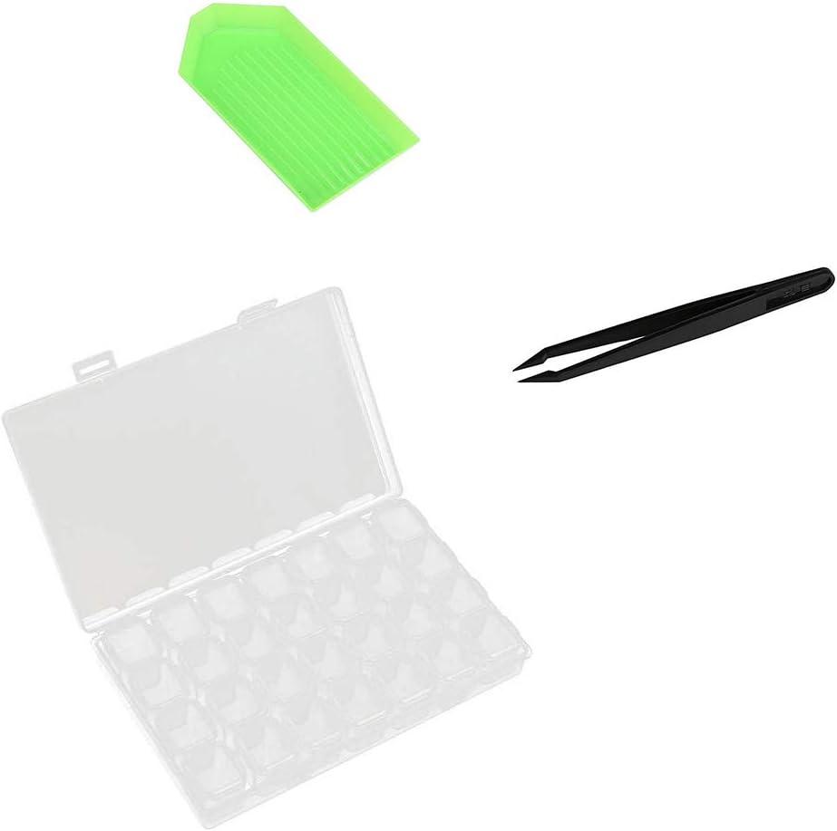 Bandeja de Pl/ástico Caja de Bordado de Diamantes Kit de Pintura de Diamante Kit de L/ápiz de Punto de Diamante de DIY con Pinzas Sprie/ßen 127Piezas DIY diamante de pintura herramientas Pegatina
