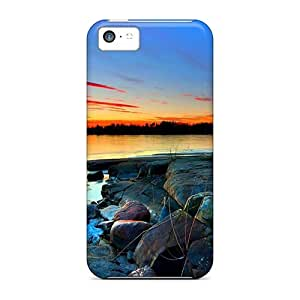 linJUN FENGFor Iphone 5c Tpu Phone Case Cover(rocky Coastal Sunset)