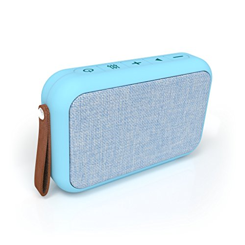 Tzumi Studio Series Speaker- Rectangular Waterproof Bluetooth Fabric Speaker - Add Powerful Sound and Ambiance to Any Room - Blue