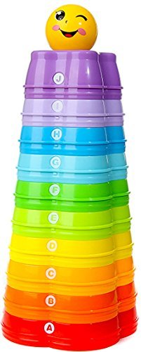Premium Stacking Toy - The Rainbow Stacker! - 10 Easy-Stack Star Cups + Smile Face Ball - Teaches Colors, Numbers and Letters - Safe, Eco-Friendly ABS Plastic - Premium Quality Toy by Santagada Toy Company