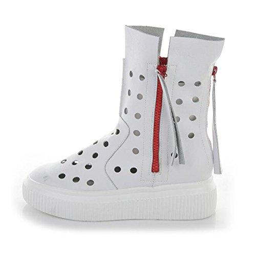 Zapatos aire cómodos fresco casuales mujeres la Zapatos de GAOLIXIA de de de tan moda al Sandalias verano Blanco de gruesa libre Blanco agujero suela cuero Botas respirables las de Rw1Hgq