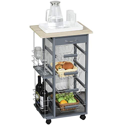 HOMCOM Multi-Use Kitchen Island Trolley w/ 4 Baskets 2 Side Racks Drawer Worktop 4 Wheels Worktop Home Food Storage…