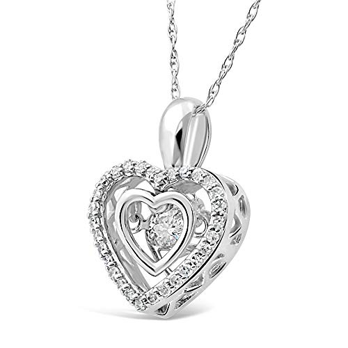 Diamond Heart Necklace Dancing Diamond in 10k White Gold – 1 5 cttw -18 Inch Rope Chain