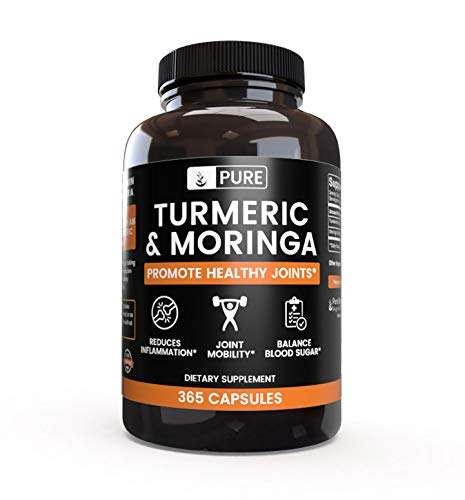 100 Natural Turmeric Moringa 365 Capsules 120-Day Supply No Rice Fillers, Vegetarian, Gluten-Free, Made in USA, 1,275mg, Undiluted, Turmeric Moringa Powder with No Additives