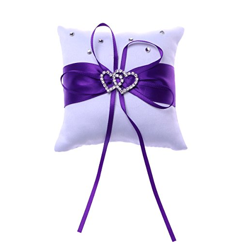 Vosarea Wedding Ring Pillow, Purple Bridal Ring Bearer Holder Cushion Double Heart Wedding Ring Box Wedding Accessories Decoration Supplies 10x10cm