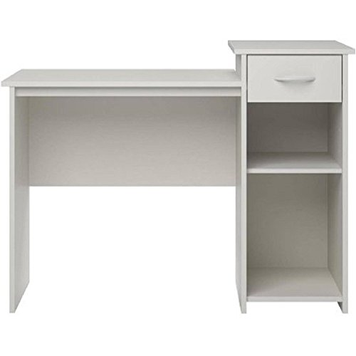 Mainstays Student Desk White Finish - Home Office Bedroom Furniture Indoor Desk - Easy Glide Accessory ()