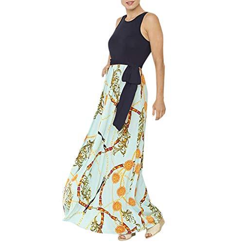 HYIRI Loose Pocket Long Dress,Women's Casual O-Neck Split Maxi Dresses Green ()