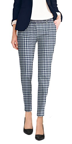 HyBrid & Company Super Comfy Flat Front Stretch Trousers PantsPW31202TX Navy/White ()
