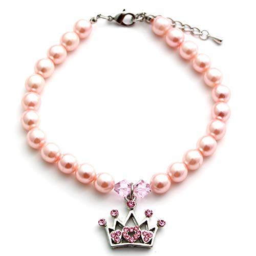 SKS PET TM Dog Pet Necklace Collar Rhinestone Crown Charm Pendant Cat Puppy Jewelry Female Puppy Chihuahua Yorkie Girl Adjustable Handmade (Pink, S) ()