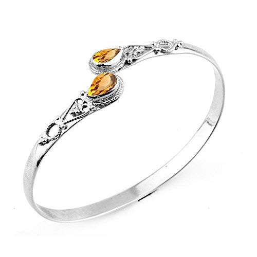 Pear Shape Two Stone Simulated Citrine Cuff Bangle 925 Silver Plated Handmade Vintage Bohemian Style Jewelry for Women Girls