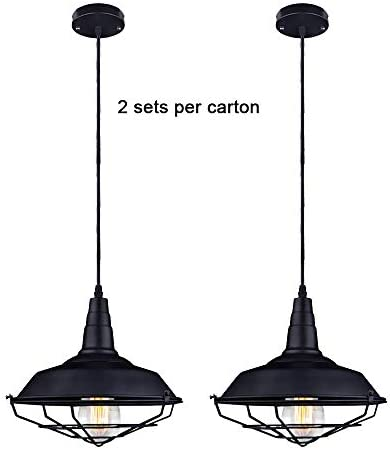 KOSTOMO Pendant Light E26 Metal Industrial Vintage Cage Hanging Lights Retro Lamp Fixtures for Kitchen Home Lighting Decor 2 Pack